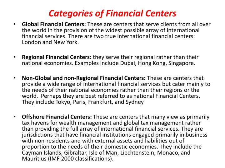 Categories of Financial Centers