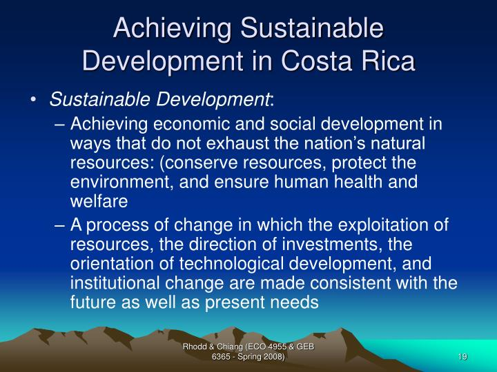Achieving Sustainable Development in Costa Rica