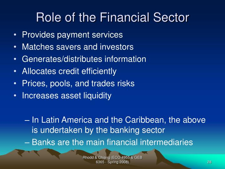 Role of the Financial Sector