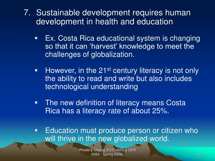 Sustainable development requires human development in health and education