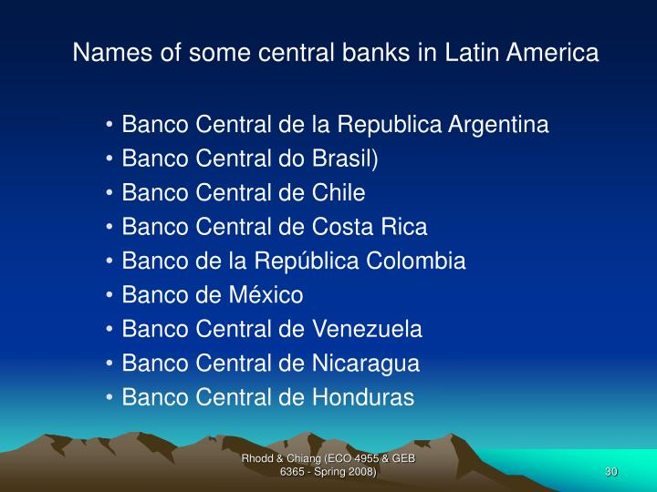Names of some central banks in Latin America