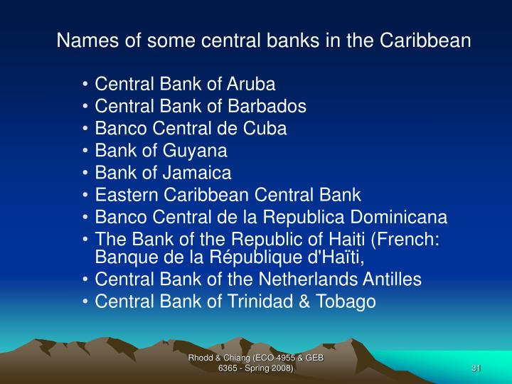 Names of some central banks in the Caribbean