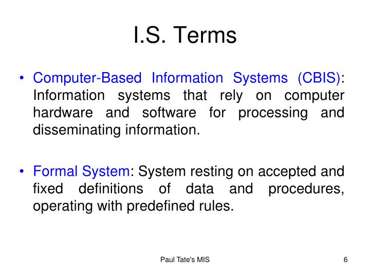 I.S. Terms