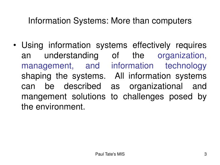Information Systems: More than computers