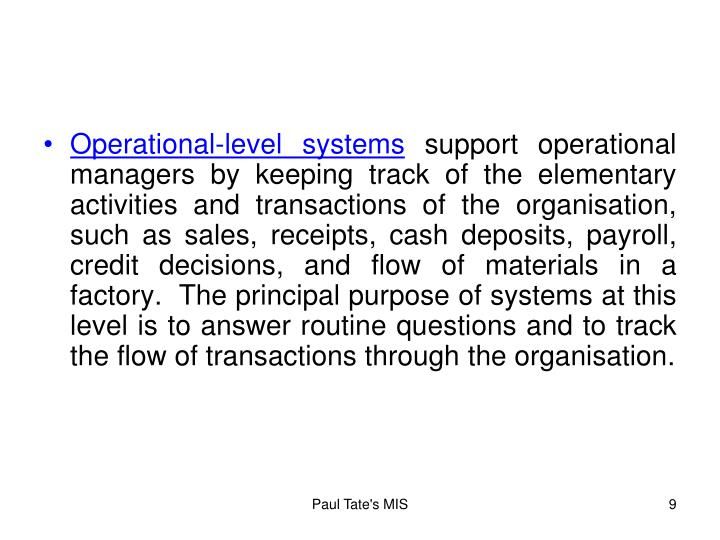 Operational-level systems