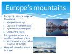 europe s mountains