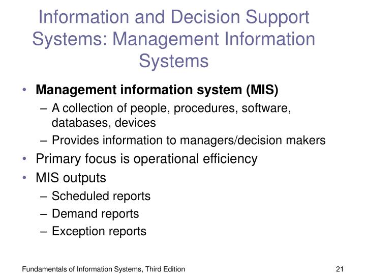 Information and Decision Support Systems: Management Information Systems