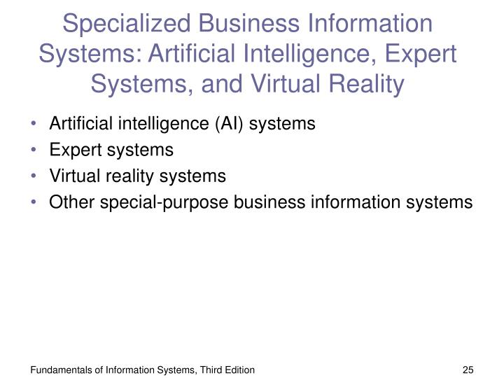 Specialized Business Information Systems: Artificial Intelligence, Expert Systems, and Virtual Reality