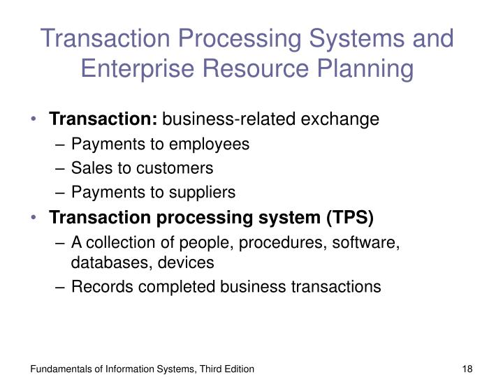 Transaction Processing Systems and Enterprise Resource Planning