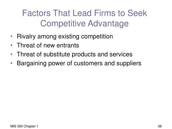 Factors That Lead Firms to Seek Competitive Advantage