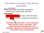 information concepts data versus information
