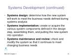 systems development continued