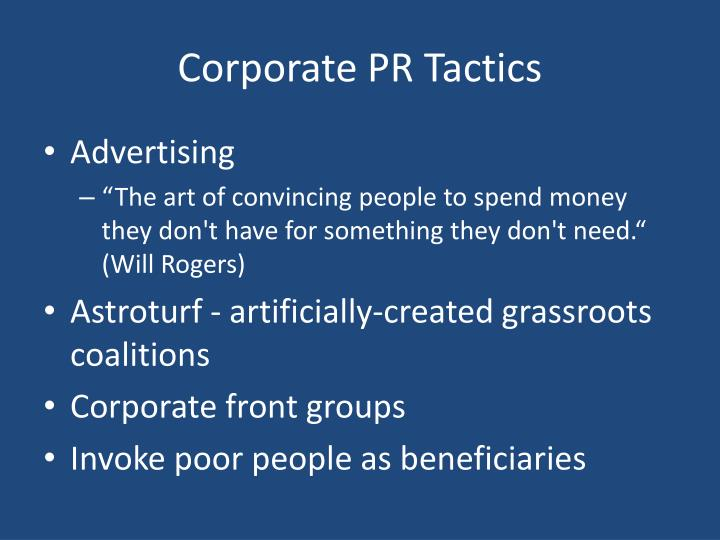 Corporate PR Tactics
