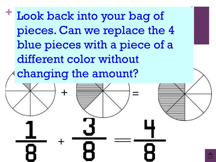 Look back into your bag of pieces. Can we replace the 4 blue pieces with a piece of a different