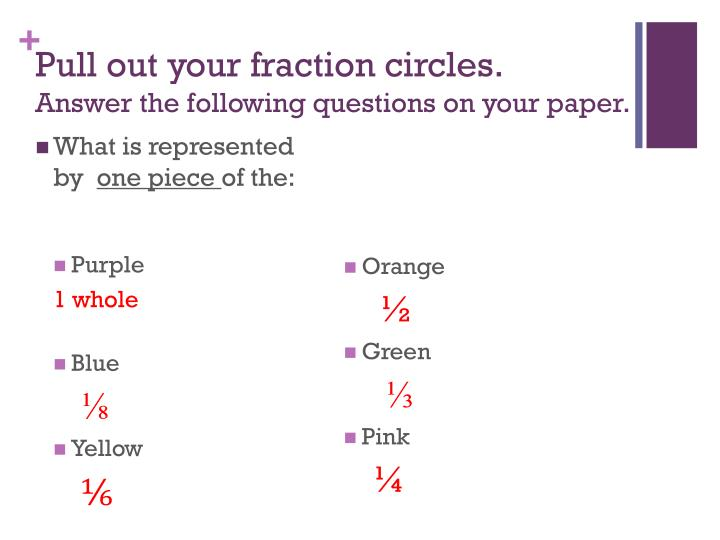 Pull out your fraction circles answer the following questions on your paper