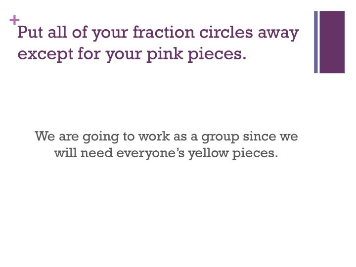 Put all of your fraction circles away except for your