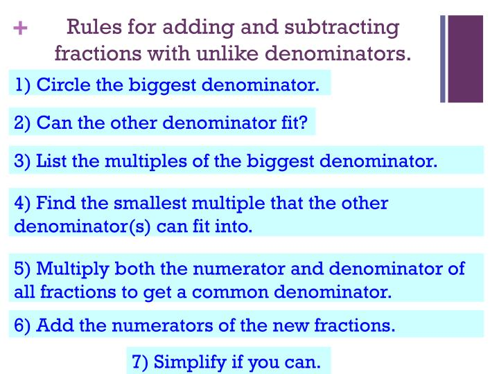 Rules for adding and subtracting fractions with unlike denominators.