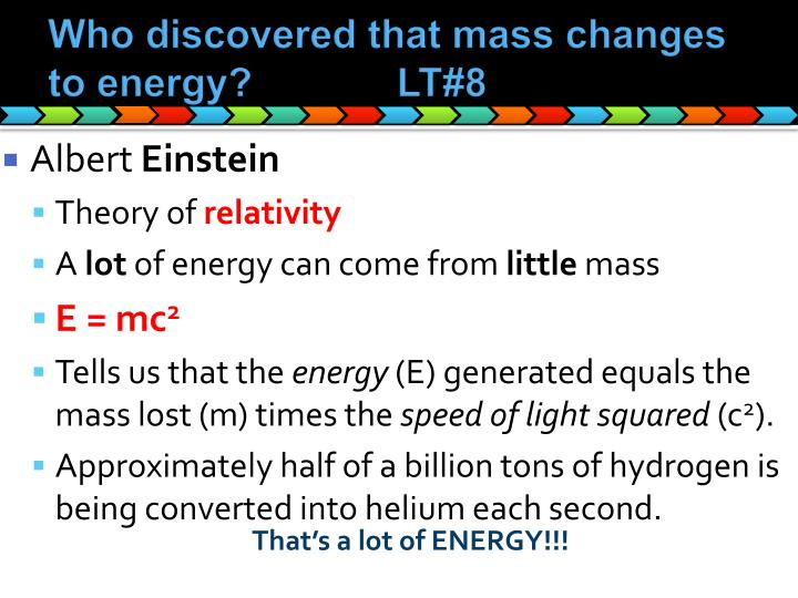 Who discovered that mass changes to energy