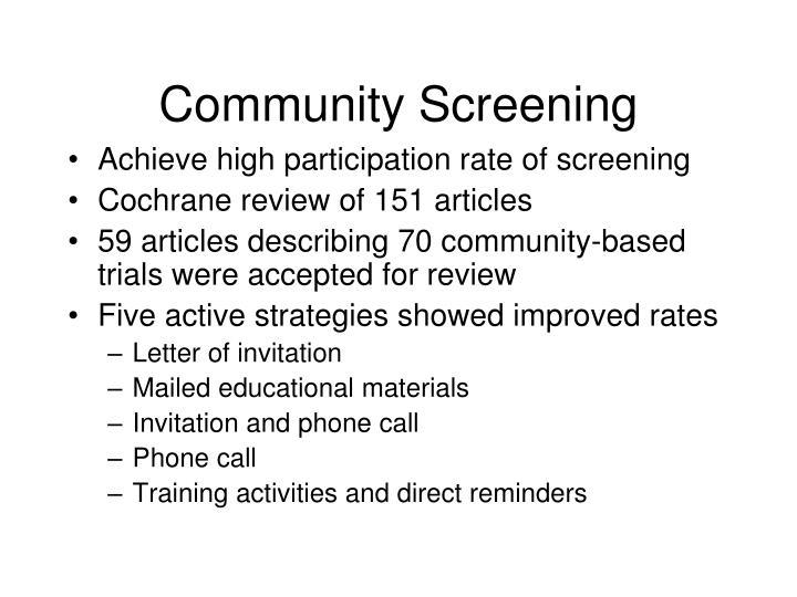 Community Screening