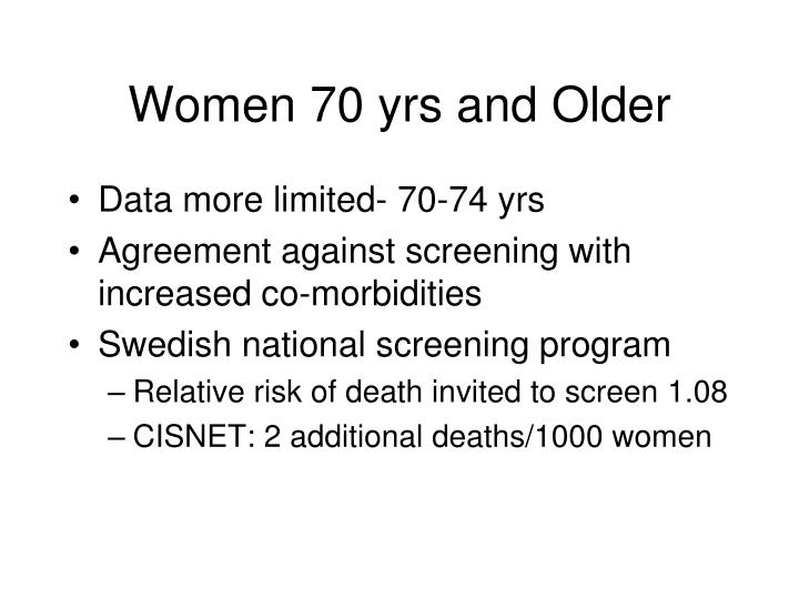 Women 70 yrs and Older