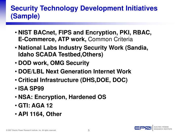 Security Technology Development Initiatives (Sample)