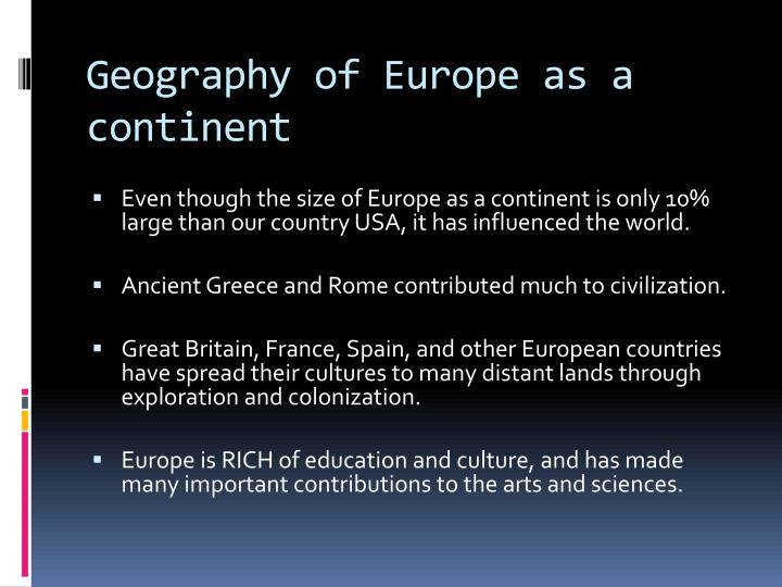 Geography of Europe as a continent