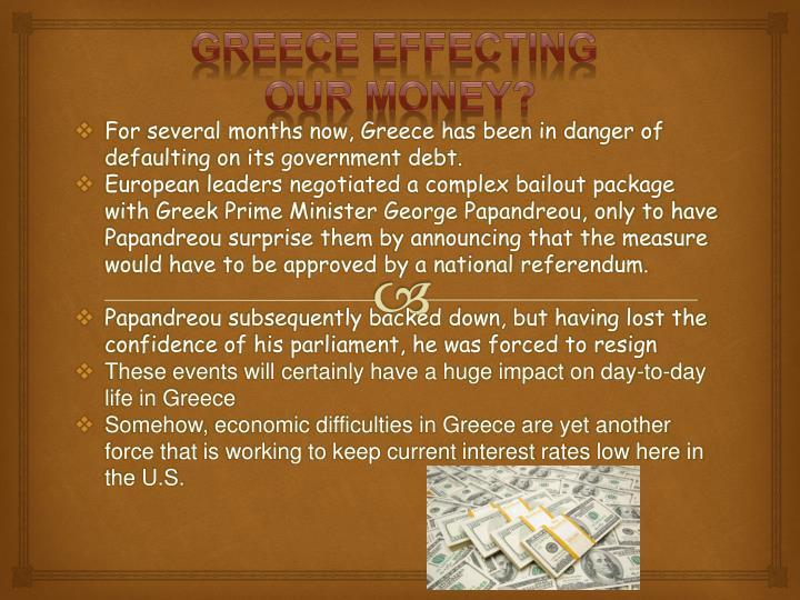 Greece effecting