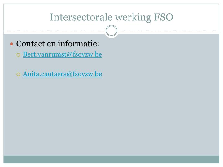 Intersectorale werking FSO