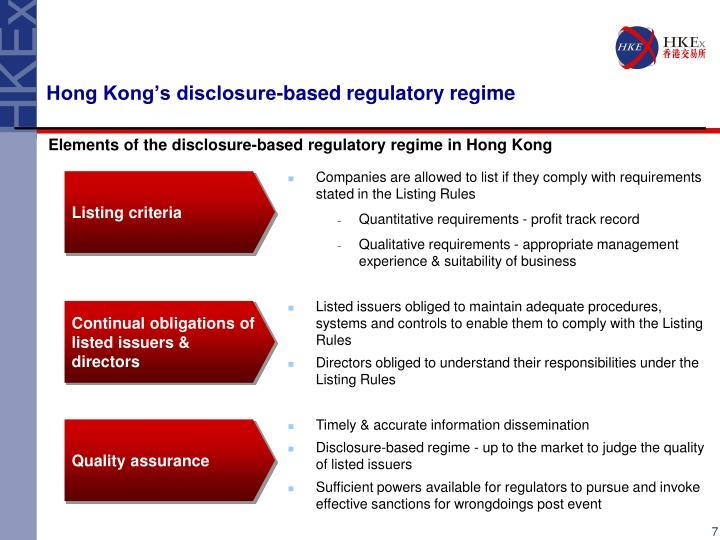 Hong Kong's disclosure-based regulatory regime