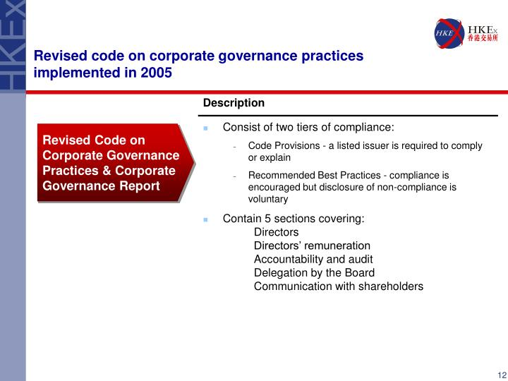 Revised code on corporate governance practices