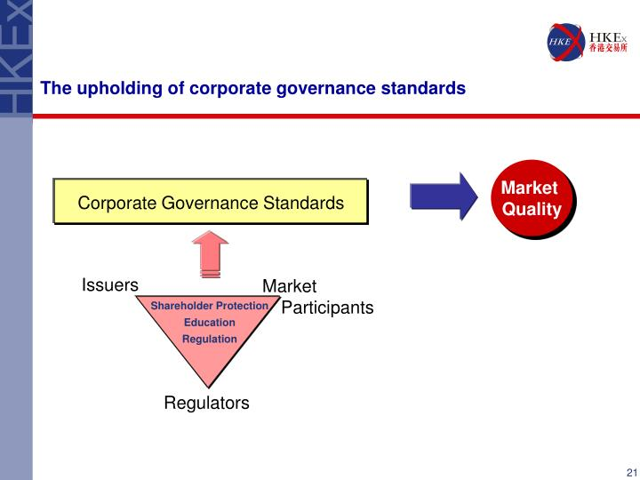 The upholding of corporate governance standards