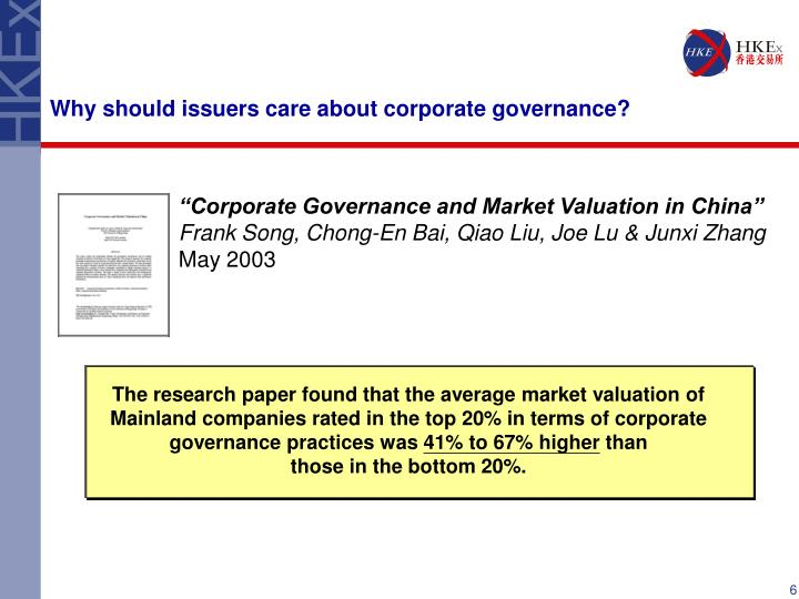 Why should issuers care about corporate governance?