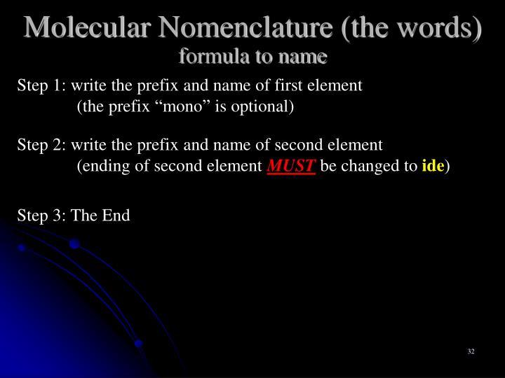 Molecular Nomenclature (the words)