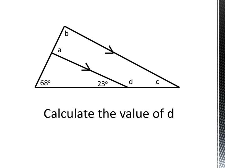Calculate the value of d