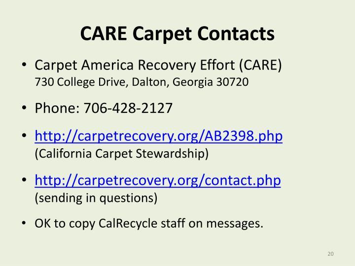 CARE Carpet Contacts
