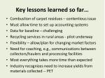 key lessons learned so far