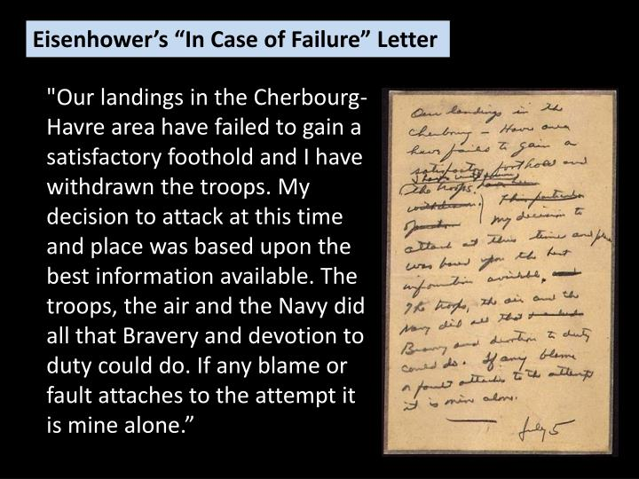 "Eisenhower's ""In Case of Failure"" Letter"