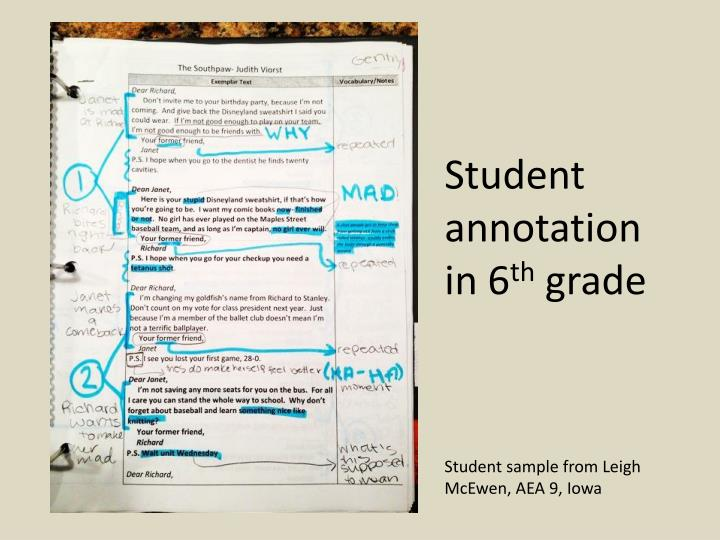Student annotation in 6