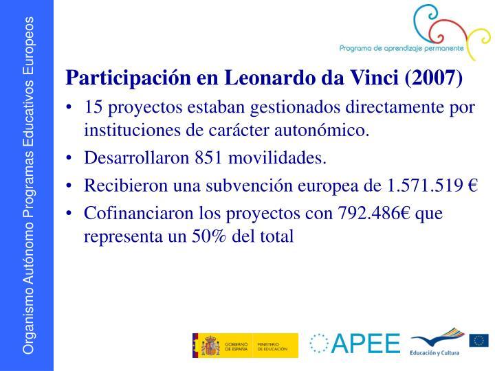 Participación en Leonardo da Vinci (2007)