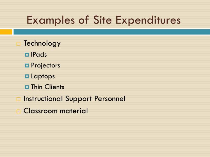 Examples of Site Expenditures
