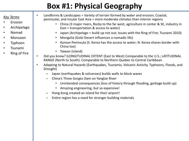 box 1 physical geography
