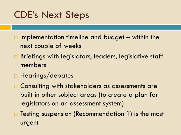 CDE's Next Steps
