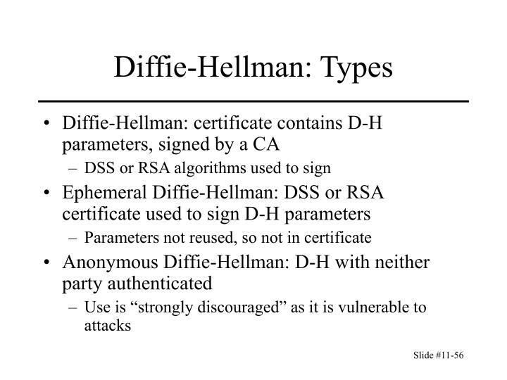 Diffie-Hellman: certificate contains D-H parameters, signed by a CA