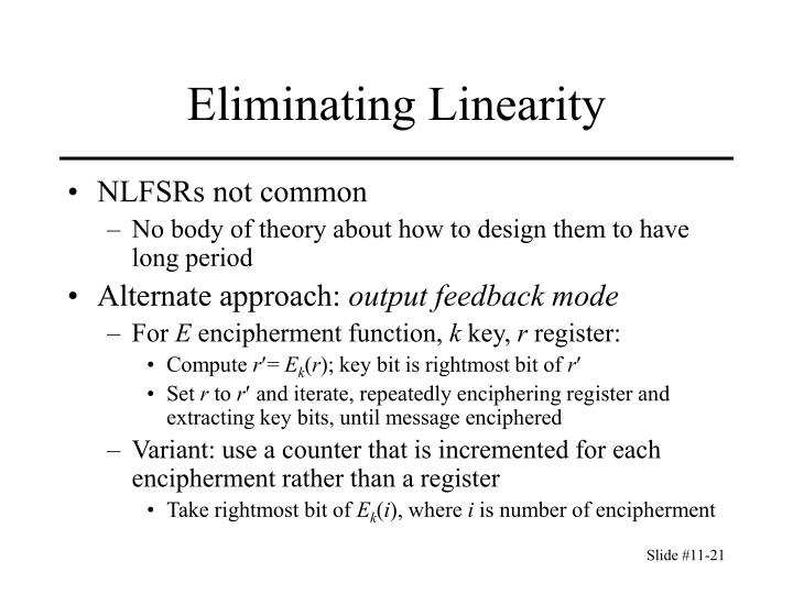 Eliminating Linearity