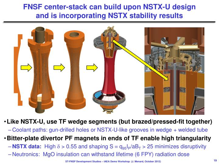 FNSF center-stack can build upon NSTX-U design