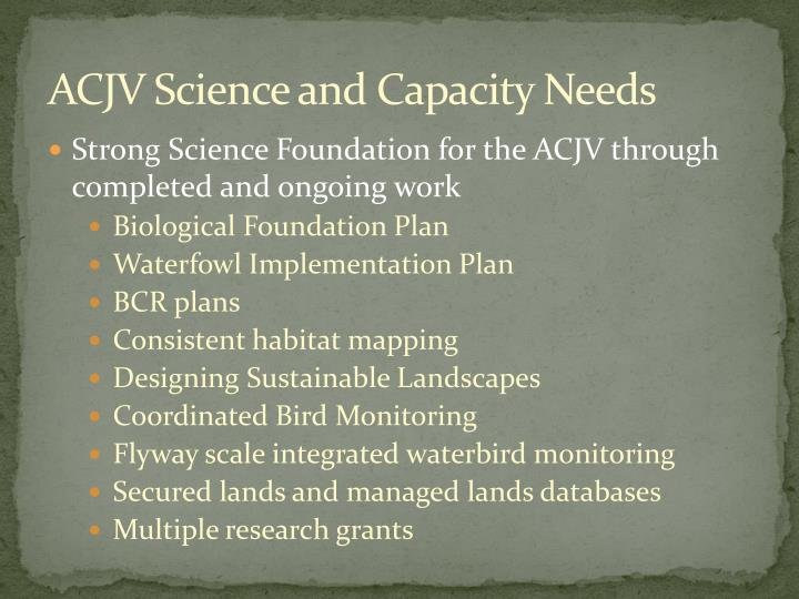 ACJV Science and Capacity Needs