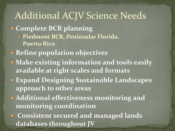 Additional ACJV Science Needs