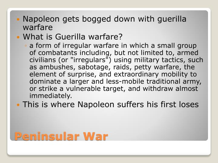 Napoleon gets bogged down with guerilla warfare