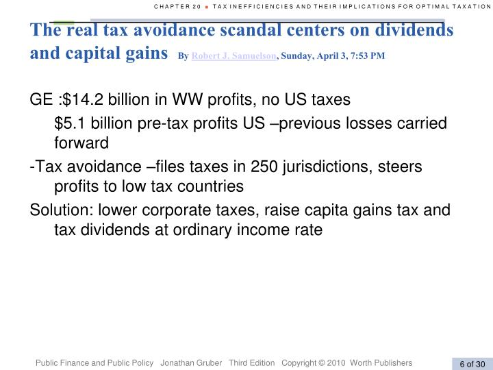 The real tax avoidance scandal centers on dividends and capital gains