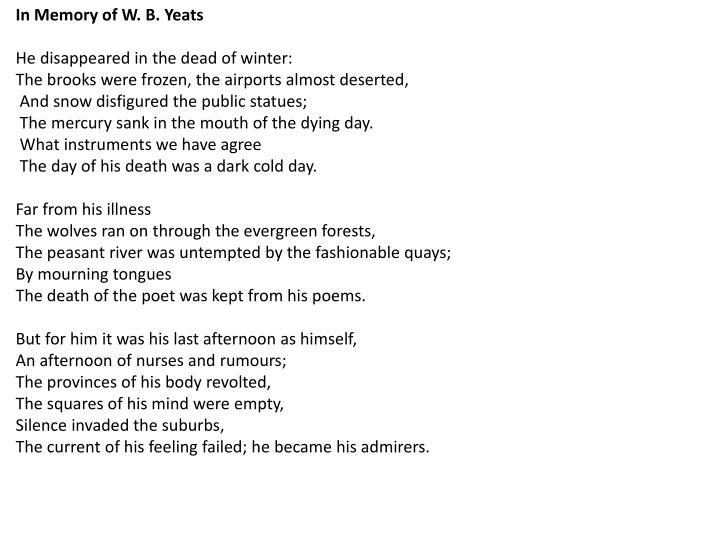 In Memory of W. B.